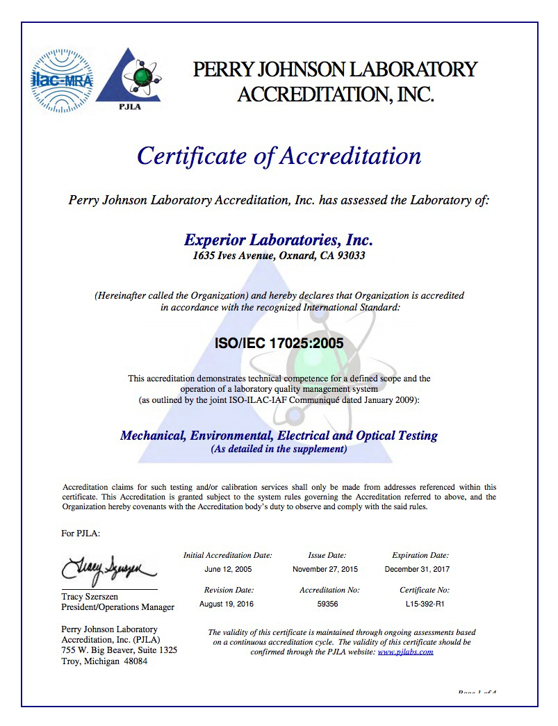 Accreditation and Certification | Experior Laboratories