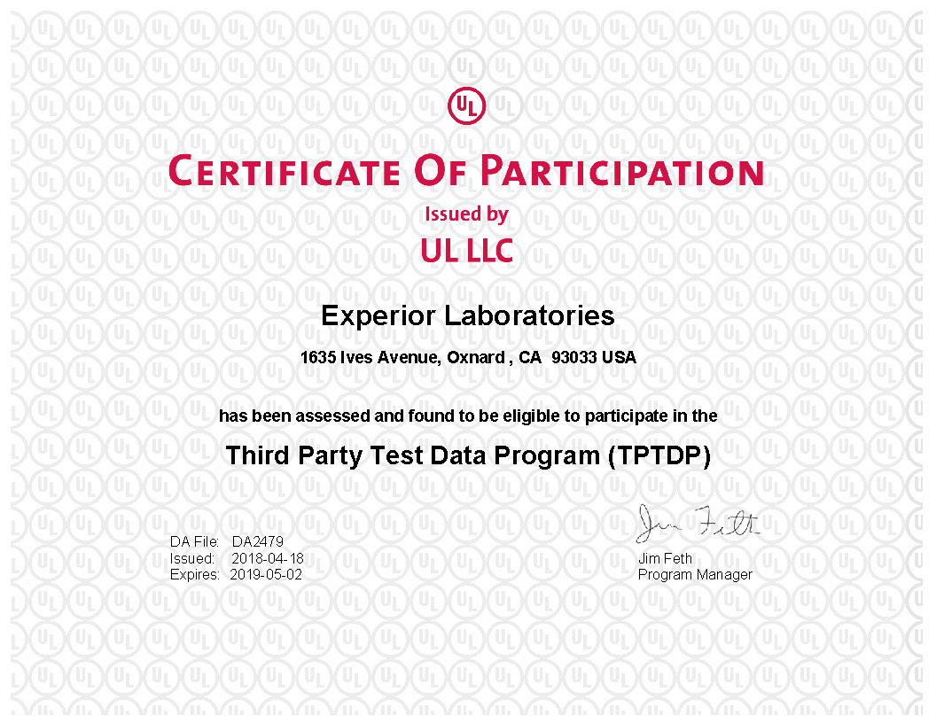 Ul Approved Experior Laboratories